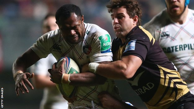 Fiji's Niki Goneva (left) scored the dramatic winning try for Leicester against Montpellier