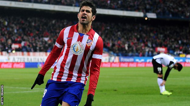 Atletico Madrid forward Diego Costa celebrates scoring against Valencia