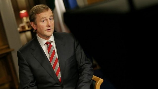 Handout photo of Taoiseach Enda Kenny during the televised National Address in his offices in Government Buildings, Dublin