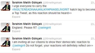 A screenshot of Mayor of Ankara Ibrahim Melih Gokcek's Twitter feed