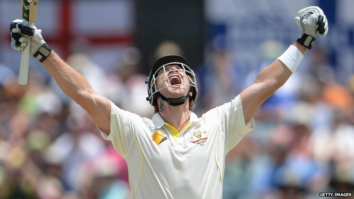 Shane Watson celebrates his century