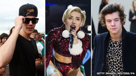 Justin Bieber, Miley Cyrus and Harry Styles