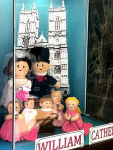 Knitted doll display of Royal Wedding