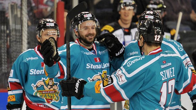 Belfast Giants Colin Shields celebrates scoring against the Sheffield Steelers