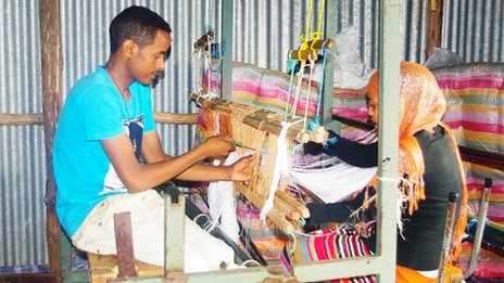 Ethiopian weavers at a special workshop set up by the the Entrepreneurship Development Centre