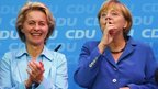 German Labour Minister Ursula von der Leyen (L) and German Chancellor and leader of the Christian Democratic Union (CDU)