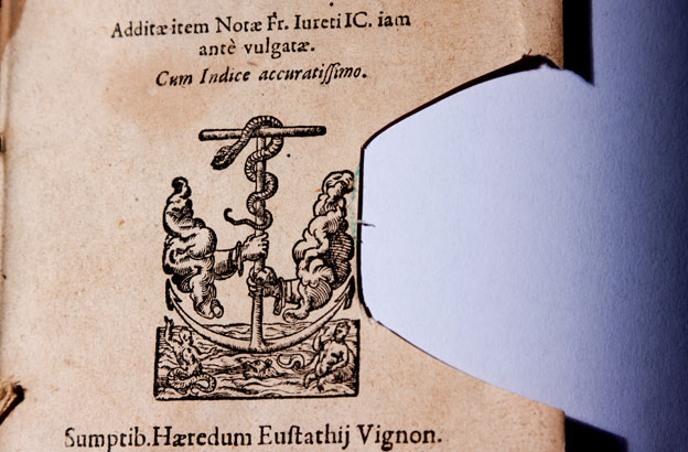 Girolamini library book with stamp cut out
