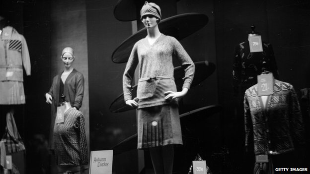 Circa 1930: Autumn knitwear in a shop window