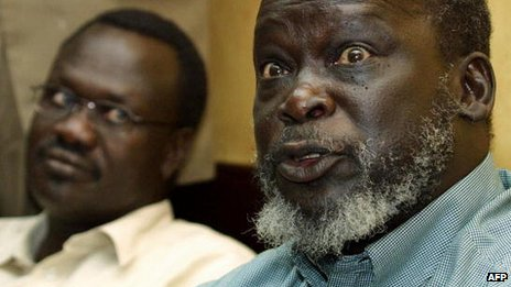 John Garang (R) and Riek Machar (L) in 2003