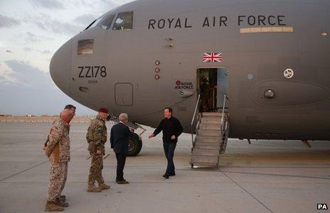 David Cameron arriving in Afghanistan