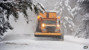 A snowplough near Merrifield, Minnesota, on 4 December 2013