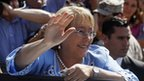 Michelle Bachelet after casting her vote on 15 December, 2013