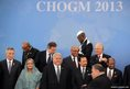 Prime Minister of Bangladesh Sheikh Hasina and other Heads of State of the Commonwealth assemble for the official portrait photograph at the CHOGM summit in Colombo on November 15, 2013.