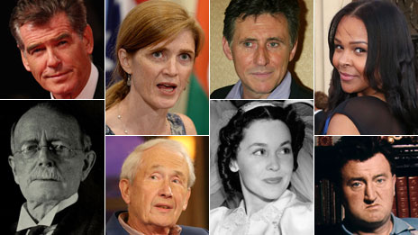 Clockwise from top left: Pierce Brosnan, Samantha Power, Gabriel Byrne, Samantha Mumba, Brendan Behan, Maureen O'Sullivan, Frank McCourt, John Philip Holland