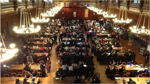 Students gather in the Annenberg Hall, Harvard University, on 16 December 2013