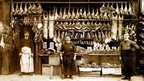 A black and white photograph of a 1915 butchers shop.