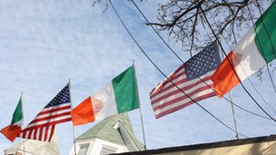 Irish flags in Woodlawn, Bronx, New York