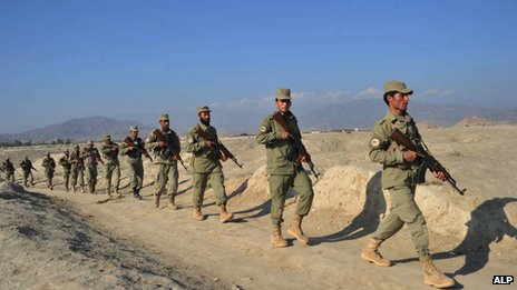 Afghan Local Police personnel on patrol in Gushta district
