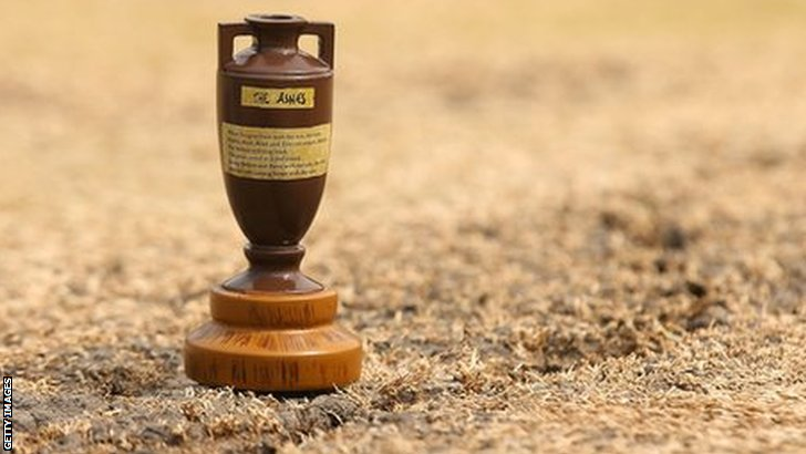 An Ashes urn on the pitch