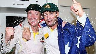 Brad Haddin & Michael Clarke celebrate