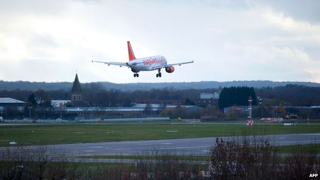 A plane landing at Gatwick