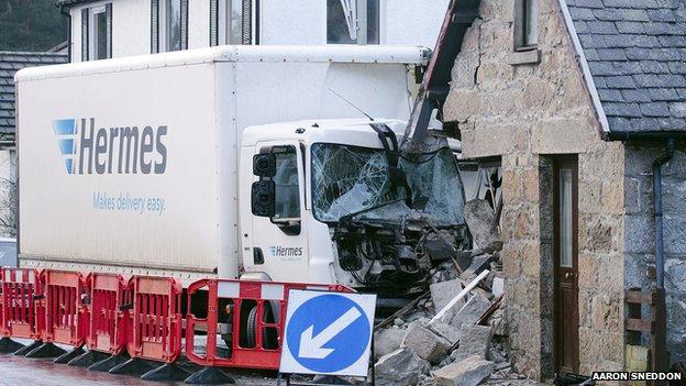 Crashed lorry