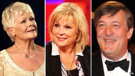 Dame Judi Dench, Jennifer Saunders and Stephen Fry