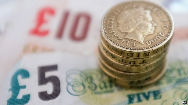 UK pound coins and banknotes