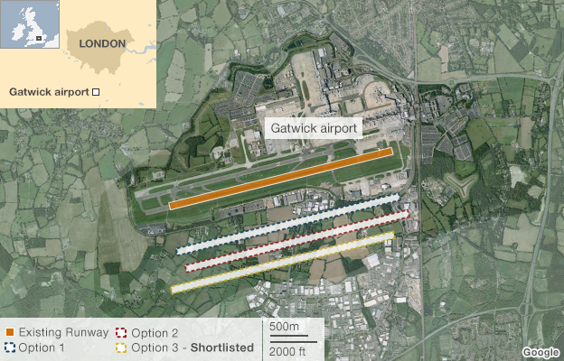 Map: Gatwick options