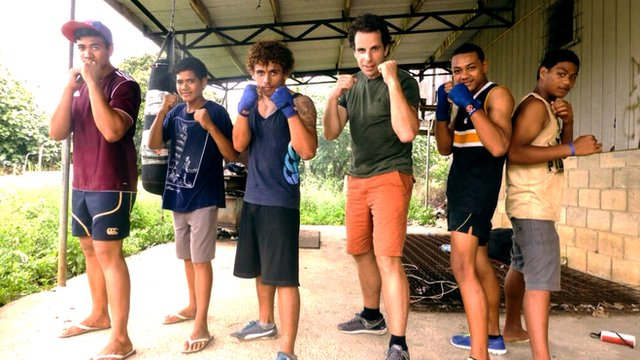 Mark Beaumont with Tonga's boxing hopefuls