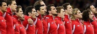 Wales line up for the pre-match anthems before playing England in 2013