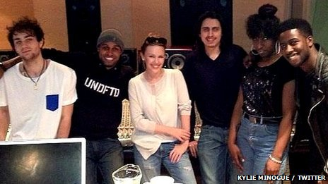 Kylie Minogue in the recording studio
