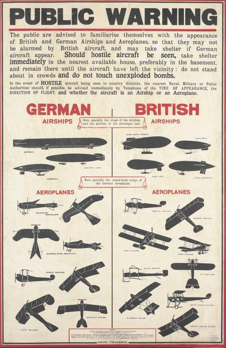Poster showing outlines of planes and zeppelins