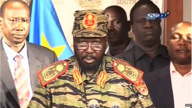 An image grab taken from South Sudan TV, showing South Sudan's President Salva Kiir addressing the nation to denounce an attempted coup.