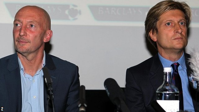 Ian Holloway and Crystal Palace co-chairman Steve Parish pictured at a media conference to announce Holloway's departure