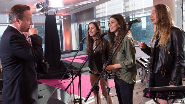 David Cameron meets Haim on the Andrew Marr show, September 2013