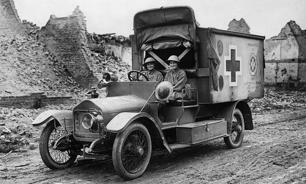 Two women in motorised ambulance