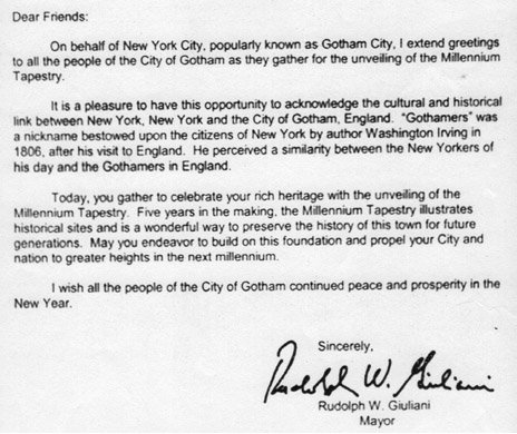 Letter from Mayor of New York, dated 2 January 2000