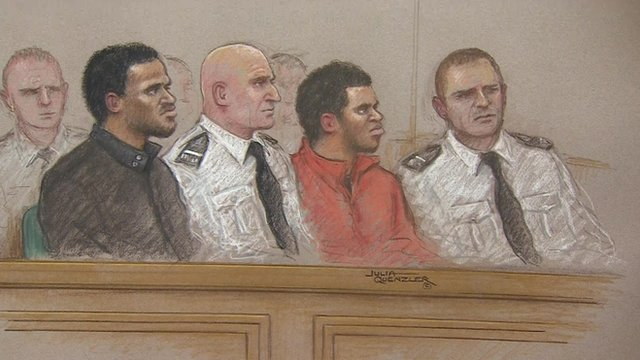 Michael Adebolajo and Michael Adebowale during first day of their trial for the murder of soldier Lee Rigby
