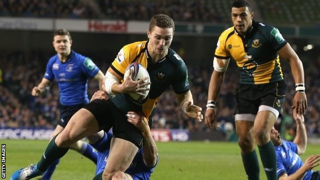 George North scores for Northampton against Leinster