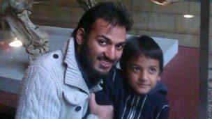Mr Khan with his son Abdullah