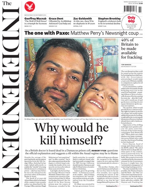 Independent front page, 18/12/13
