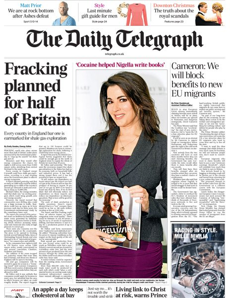 Daily Telegraph front page, 18/12/13