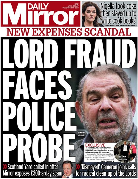Daily Mirror front page, 18/12/13