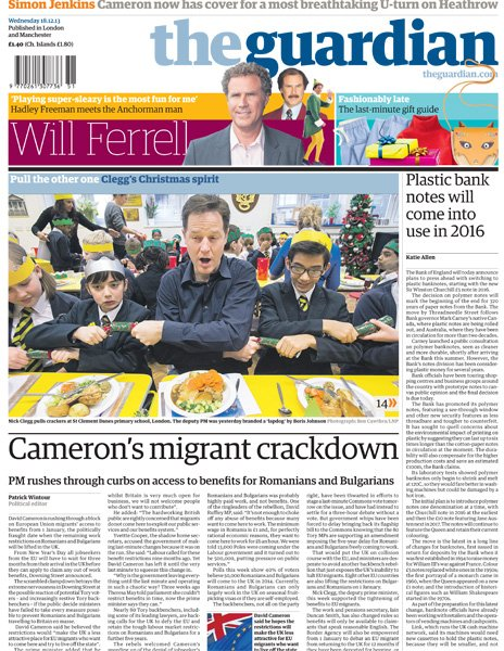 Guardian front page, 18/12/13