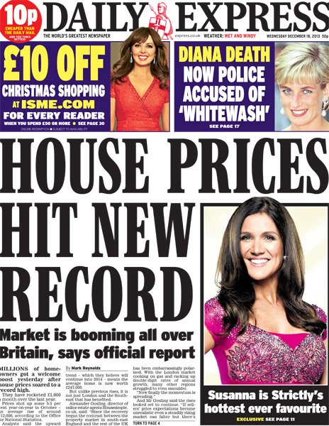 Daily Express front page, 18/12/13