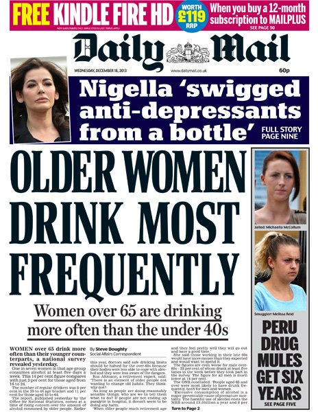 Daily Mail front page, 18/12/13