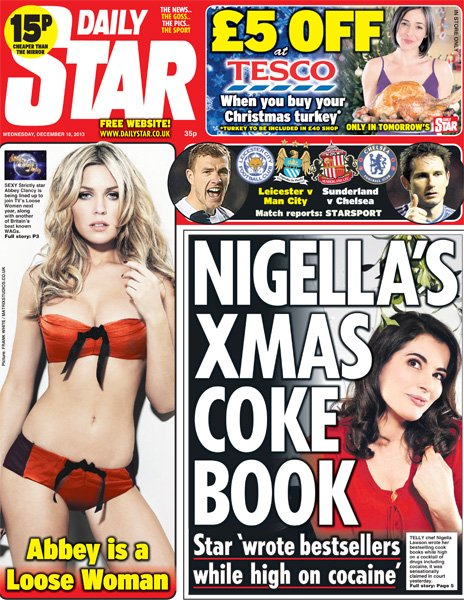 Daily Star front page, 18/12/13