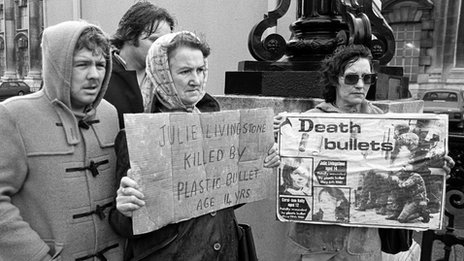 Campaigners protesting against the use of plastic bullets in the early 1980s
