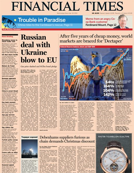Financial Times front page, 18/12/13